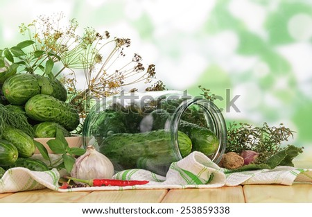 Cucumbers for marinate with dill on wooden background - stock photo