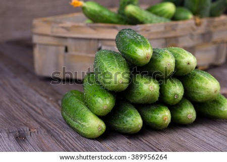 Cucumbers on a wooden background. - stock photo