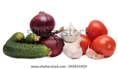 Cucumbers, tomatoes and garlic. Vegetables isolated on a white background. - stock photo