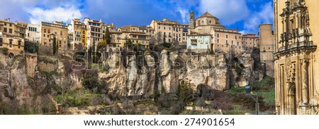 Cuenca- medieval town hanging on rocks, Spain - stock photo
