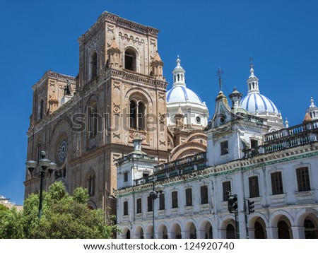 Cuenca - old city of conquistadors in Latin America, Cathedral Of The Immaculate Conception - stock photo