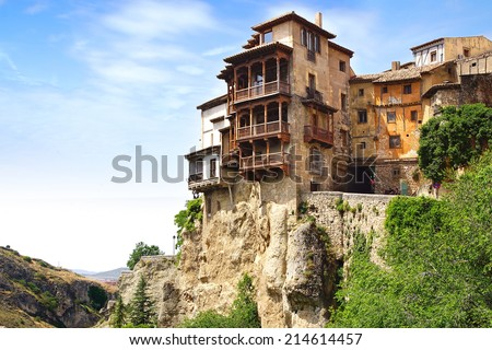 "CUENCA, SPAIN - JUNE 10, 2014: Casas colgadas ""hanging houses"". Many casas colgadas are built right up to the cliff edge,making Cuenca one of the most striking towns in Spain"