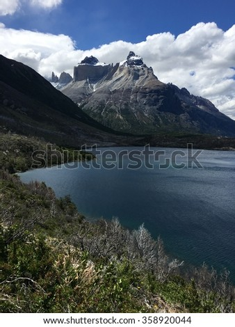 Cuernos del Paine and Skottsberg Lake in Torres del Paine National Park, Chile - stock photo