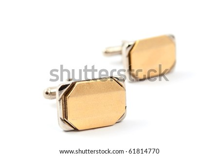 cufflinks on a white background - stock photo