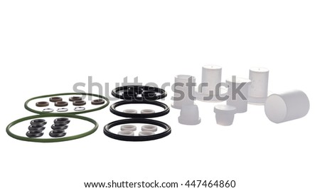 Cuffs Rubber rings for cars. hydraulic and pneumatic o-ring seals of different sizes scattered a white background