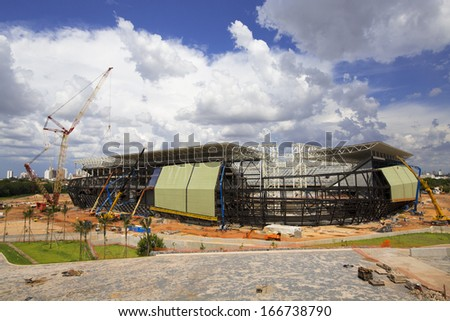 CUIABA, MT, BRAZIL - DECEMBER 07: Arena Pantanal building stage for 2014 Brazil's world cup, south west side. December 07, 2013 in Cuiaba, MT, Brazil. - stock photo
