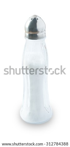 Cuisine and Food, A Salt Shaker Used for Seasoning in Cooking Isolated on White Background. - stock photo