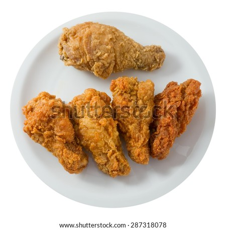 Cuisine and Food, Top View of A Plate of Crispy Fried Chicken Wings Isolated on A White Background. - stock photo