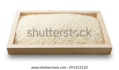Cuisine and Food, Uncooked White Long Rice, Basmati Rice or Thai Jasmine Rice in A Wooden Tray Isolated on White Background. - stock photo