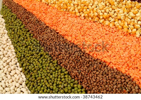 Cuisine choice. Cooking ingredients. Beans, corn and lentils.