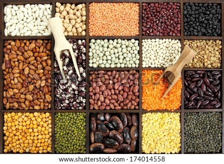 Cuisine choice. Cooking ingredients. Beans, peas, lentils - stock photo
