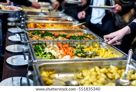 Cuisine Culinary Buffet Dinner Catering Dining Food Celebration Party  Concept. Group Of People In All