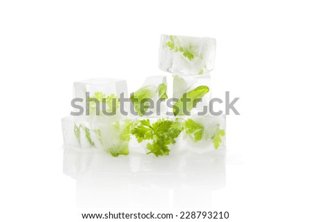 Culinary aromatic herbs frozen in ice cubes isolated on white background. Parsley and basil leaves in ice cubes. Fresh cooking. - stock photo