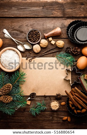 culinary background for recipe of Christmas baking