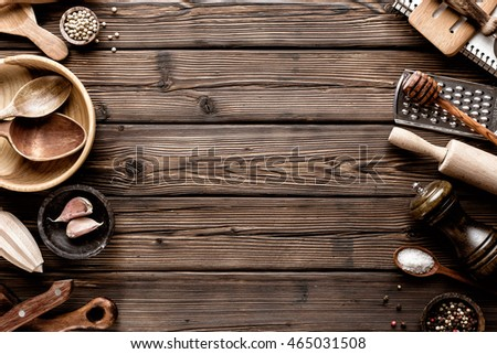 culinary background with kitchen utensils