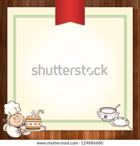 Culinary menu template design with chef - stock photo