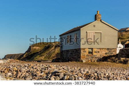 CULLEN, MORAY, SCOTLAND - 28 FEBRUARY 2016: This is a scene within the architecture of the seaside town of Cullen, Moray, Scotland on a sunny 28 February 2016.