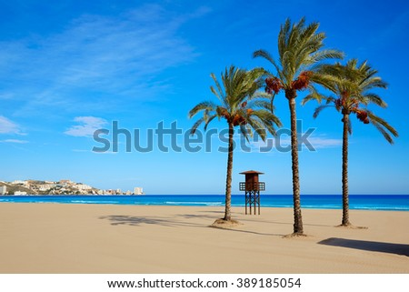 Cullera Sant Antoni beach San Antonio in Valencia of Spain - stock photo