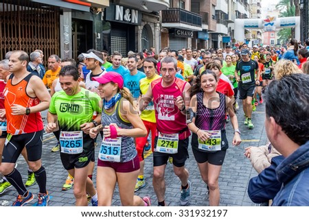 CULLERA, VALENCIA - 25 OCTOBER 2015 - Runners in the 32 Volta a Peu of Cullera
