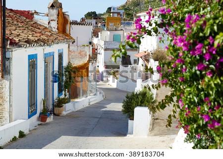 Cullera village streets in Mediterranean Valencia of Spain - stock photo