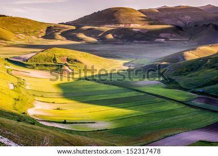 Cultivated fields in the Castelluccio di Norcia Valley, Umbria - Italy - stock photo