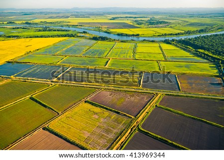 Cultivation of cereals. Krasnodar region, top view - stock photo
