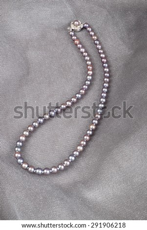 Cultured Black Pearls Necklace - stock photo