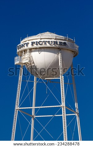 CULVER CITY, CA/USA - NOVEMBER 29, 2014: Sony Pictures studios water tower and marquee. Sony Pictures Studios are a television and film studio complex. - stock photo