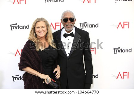 CULVER CITY - JUN 7: Lori McCreary, Morgan Freeman at the 40th AFI Life Achievement Award honoring Shirley MacLaine held at Sony Pictures Studios on June 7, 2012 in Culver City, California