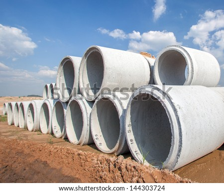 culverts pile in golf construction site - stock photo