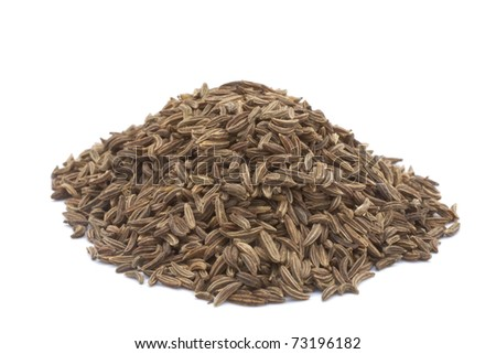 cumin seeds , indian spice,isolated on a white background. - stock photo