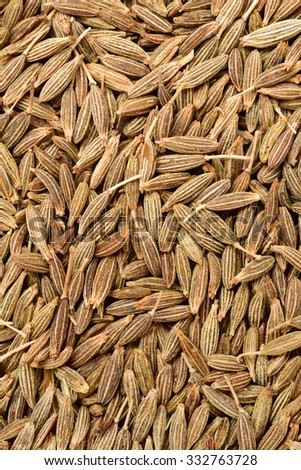 Cumin seeds texture, full frame background. Second most popular spice in the world after black pepper.