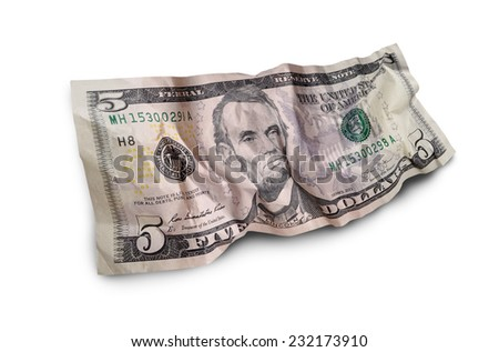 cumpled five dollar bills isolated on white background - stock photo