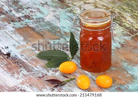 Cumquat jam made with cardamom cinnamon and star anise - stock photo