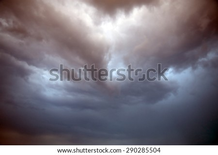 Cumulonimbus cloud in the blue sky - stock photo