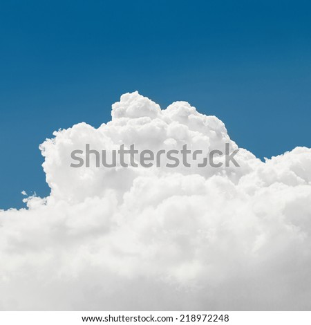 Cumulus clouds and blue sky - outdoors shoot - 1 to 1 ratio - stock photo