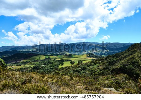 CUNDINAMARCA, COLOMBIA - JANUARY 24, 2014: View of the mountains at the natural park of Guatavita.