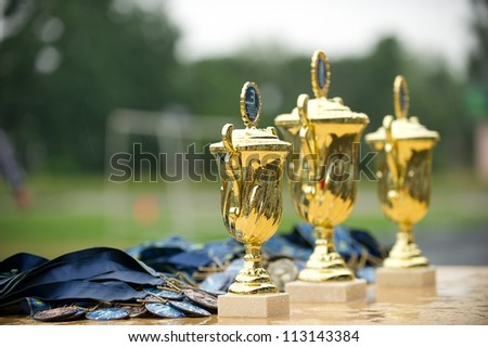 cup a medal award before delivery to winners - stock photo