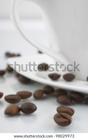 cup and coffee beans close-up at a small depth of field