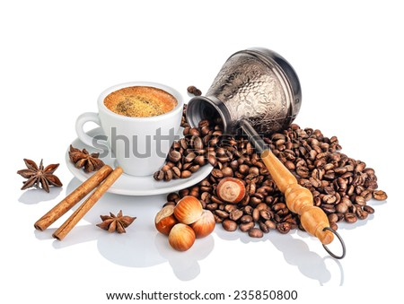 Cup and pot of coffee and coffee beans, isolated on white - stock photo
