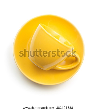cup and saucer isolated on white background - stock photo