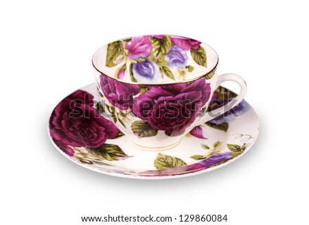 Cup and saucer on white background - stock photo