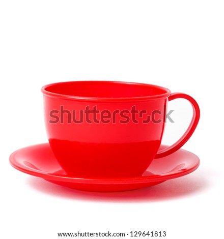 cup and saucer, toys, isolated on white, with shadow