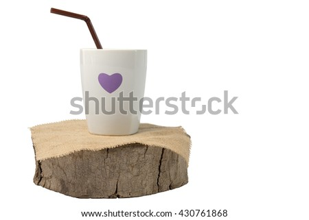 Cup and tube on wood isolate on white background, Clipping path - stock photo