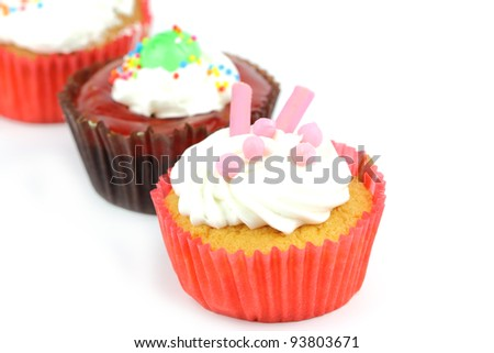 Cup cake on white background