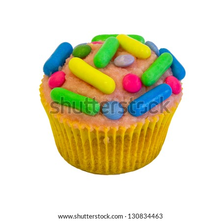 cup cake with jellies isolated on white