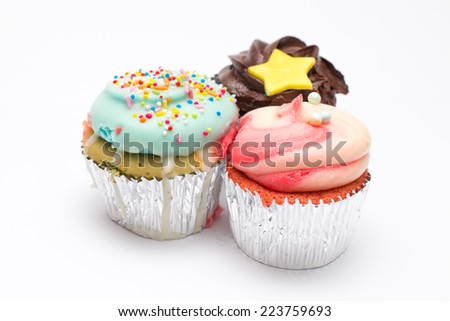 Cup cakes isolated on white background.