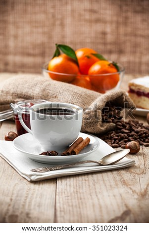 Cup coffee breakfast rustic style on wooden board