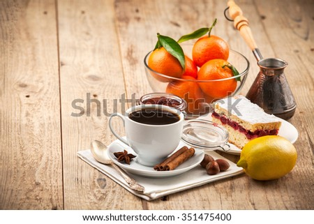 Cup coffee breakfast rustic style on wooden board - stock photo