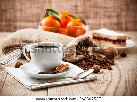 Cup coffee breakfast rustic style stock photo